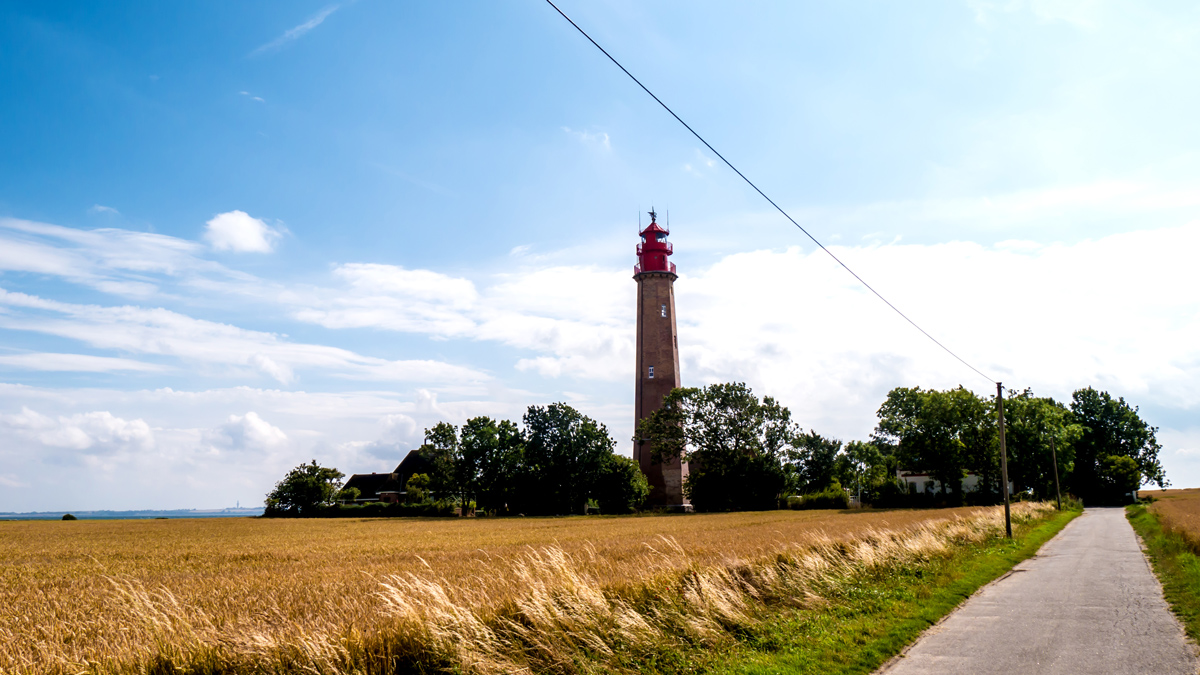 Lighthouse with fields of barley