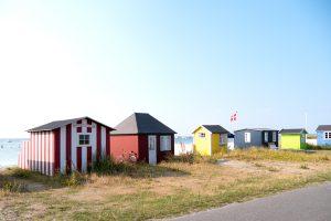 Tiny, colorful beach huts of Ærøskøbing bay